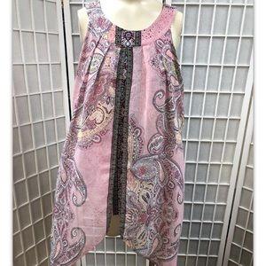Roz & Ali, blouse,black/pink,great design, SizeM.: